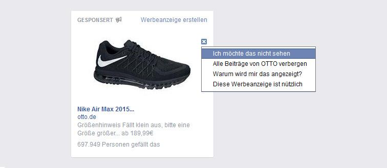 Nach dem Klick auf das Kreuz erhält der Nutzer jetzt verschiedene Optionen. | Bild: Screenshot