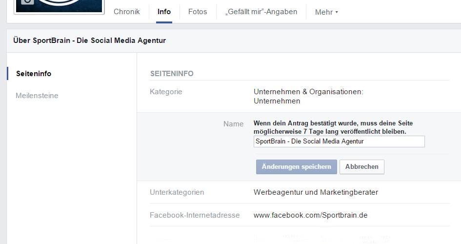 Facebook Unternehmensseite Namen ändern