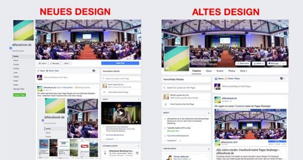 Neu vs. alt: das neue Seitendesign von Facebook. | Bild: Allfacebook